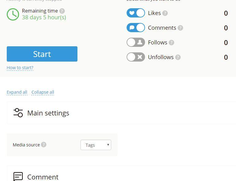 megafollow main settings